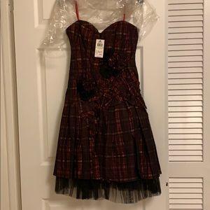 BCBG red plaid strapless dress, 4